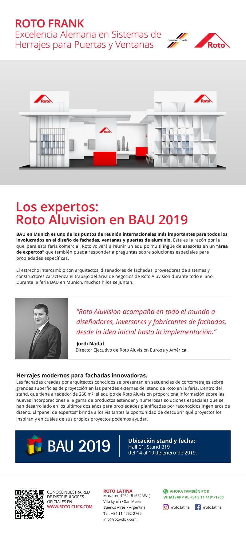 Novedades Noviembre 2018 Roto Frank - Roto Aluvision en BAU 2019.