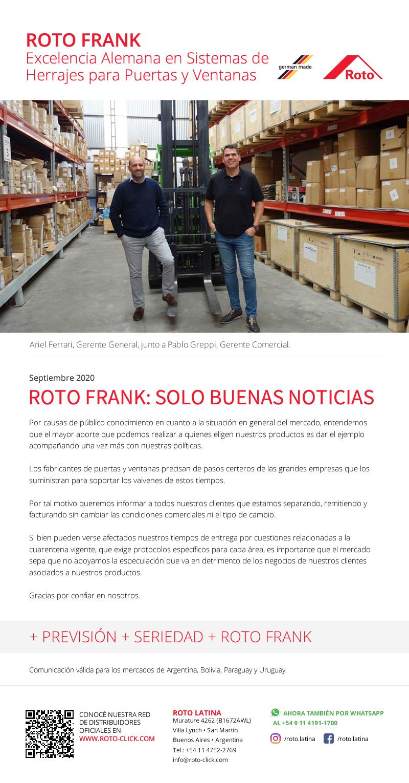 Roto Frank - Novedades Septiembre 2020